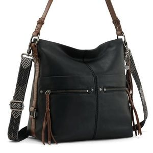 Saks black leather Ashland Bucket bag/crossbody
